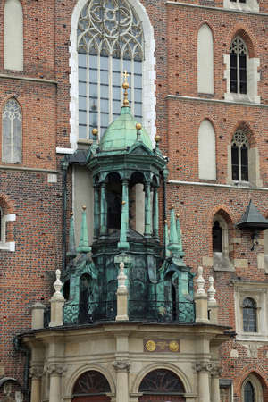 church of our lady: Detail of Church of Our Lady Assumed into Heaven in Krakow Poland Stock Photo