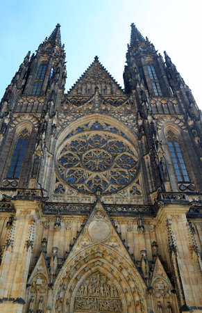 immense facade of the Gothic cathedral of St. Vitus in Prague in the Czech Republic Stock Photo