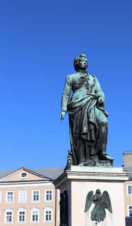 prodigious: large statue of the great composer Mozart in the square of the European city