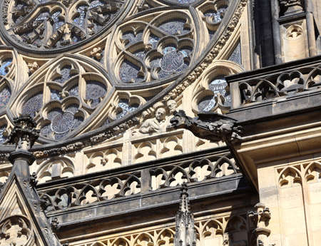 gargoyles: One  gargoyle in Saint Vitus Cathedral in Prague in the Czech Republic Eastern Europe Stock Photo