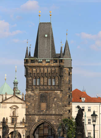 tower with battlements of the Charles Bridge in Prague in Czech Republic Europe