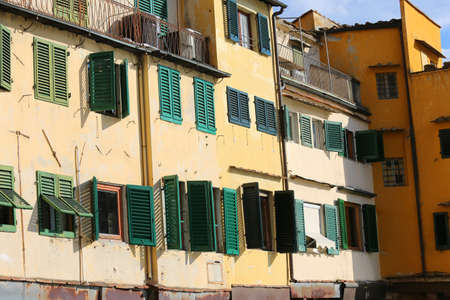 ponte vecchio: Florence houses and shops in the ancient bridge called Ponte Vecchio Stock Photo