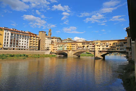 Old Bridge called Ponte Vecchio in Florence Italy over River Arno Stock Photo