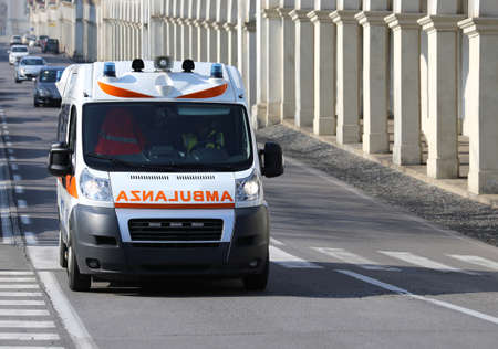 Fast Italian ambulance runs to the city street during a Medical Emergency Stok Fotoğraf