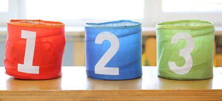 big bin: three jars for toys with numbers one two three