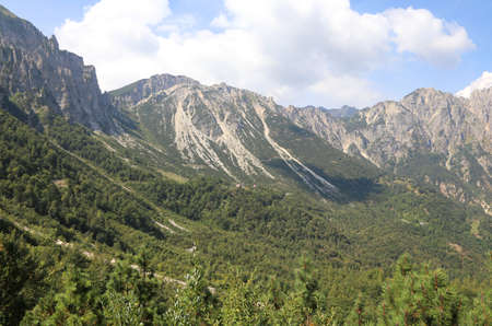 wide landscape of italian mountains called Venetian Prealps in the province of Vicenza in Italy