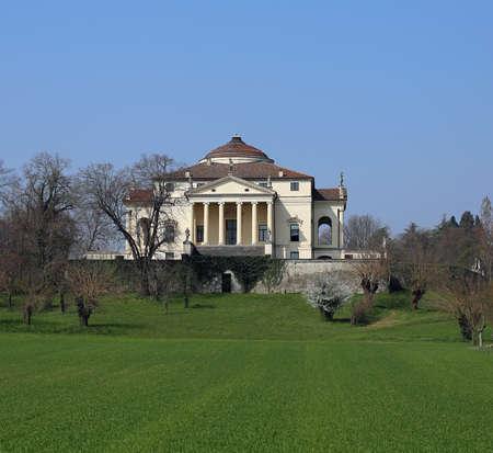 portico: stately Venetian Villa designed by architect Palladio called Villa Capra detta la Rotonda in the city of Vicenza in Italy Editorial