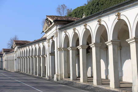 portico: long line of wonderful architectural arcades on the uphill road leading to the Basilica in Vicenza in Italy