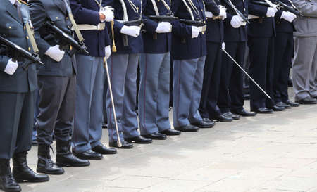 policing: Italian police officers in uniform during the parade for the celebration of the Italian armed forces of June 2 Editorial