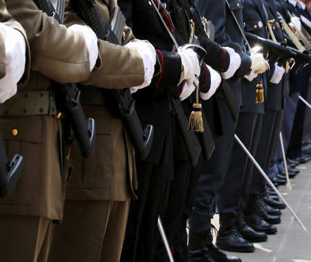 italian alpine troops: Italian armed forces with Alpine troops and the police during the celebration of the armed forces Editorial