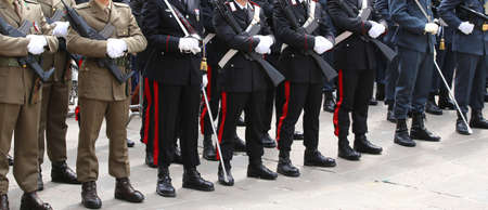 italian alpine troops: deployment of the Italian armed forces with Alpine troops and the police during the feast of the armed forces