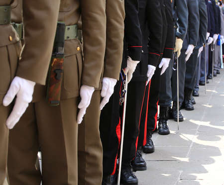 Italian armed forces with Alpine troops and the police during the celebration of the armed forces with many people