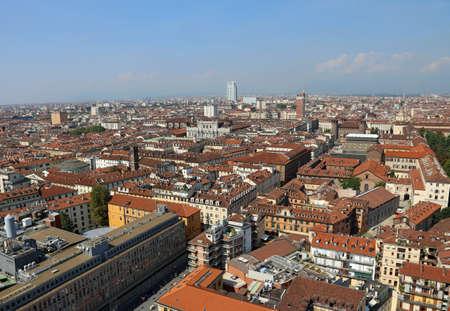 demografia: Aerial View of Turin city in Italy and many famous palace like Palazzo carignano