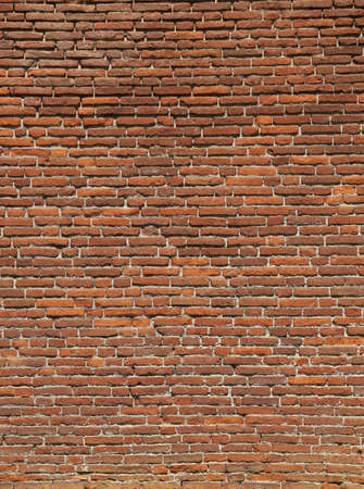rectangular red bricks of an old historic wall
