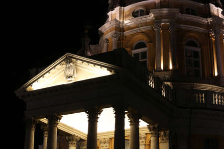 Lights of the SUPERGA Cathedral near the city of Turin in Italy by night Banco de Imagens