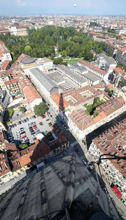 aerial view of the city of Turin from the highest building called MOLE ANTONELLIANA