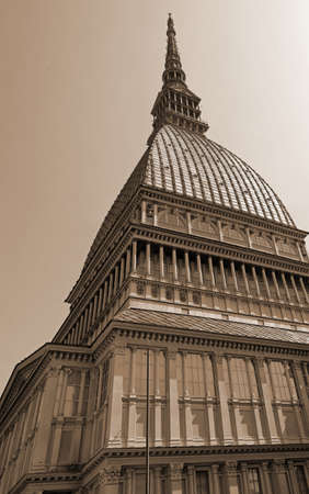 Turin Italy historical monument called the Mole Antonelliana with sepia effect Editorial