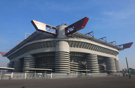 Milan, MI, Italy - December 9, 2016: Football stadium called Stadio Meazza, but commonly known as San Siro Editorial