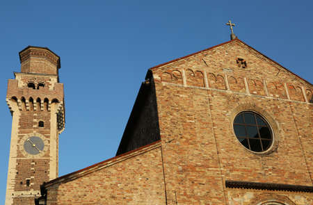 Vicenza VI Italy paleochristian basilica of Saints Felice and Fortunato and the old bell tower and blue sky Stock Photo