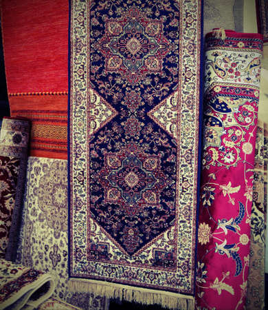 many carpets for sale in the fabric market Stok Fotoğraf