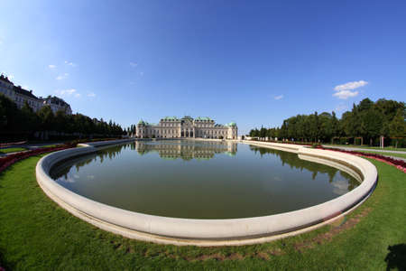 Vienna, Austria - August 28, 2014: lake of the Austrian Upper Belvedere Castle in a sunny summer day