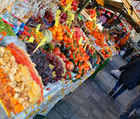 Venezia, VE, Italy - December 31, 2015: fruit and vegetable market on a street in Venice Editorial