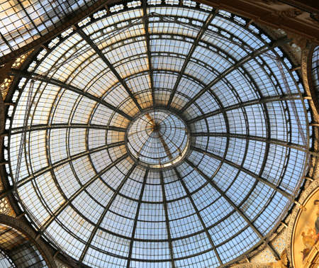 Inside the fantastic gallery dedicated to Vittorio Emanuele II King of Italy with a glass roof and steel and artistic decorations in Milan Italy Editorial