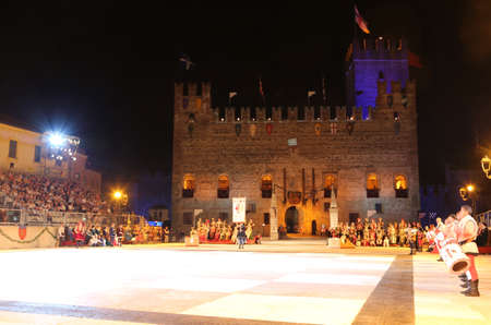 Marostica, VI, Italy - September 9, 2016: Medieval Castle and the square before the game of chess
