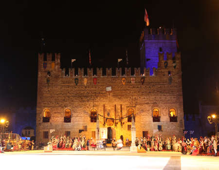 Marostica, VI, Italy - September 9, 2016: Medieval Castle and the square before the game of chess by night