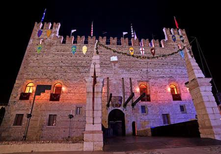Marostica, VI, Italy - September 9, 2016: Medieval Castle with drawbridge down at night Editorial