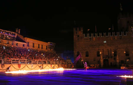 Marostica, VI, Italy - September 9, 2016 fire on the main square called Piazza degli Scacchi during an historical reenactment Editorial