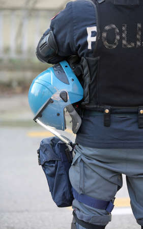 helmets of the policeman during an anti-terrorism control outside the stadium Stock fotó