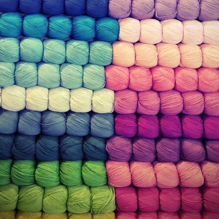 many balls of wool with vitange effect