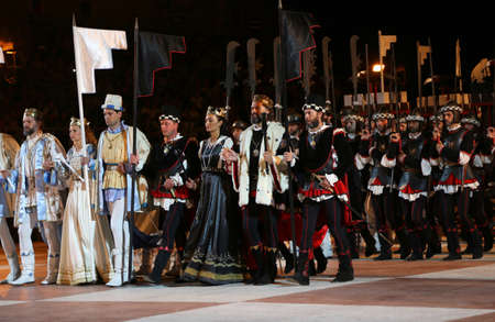 processions: Marostica, VI, Italy - September 9, 2016 characters in costume before the battle with human chess game in the big chessboard in the main square