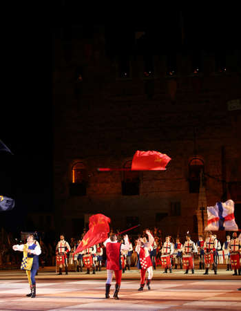 Marostica, VI, Italy - September 9, 2016: flag throwing during a live show in the main square Editorial