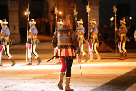 Marostica, VI, Italy - September 9, 2016: soldiers with medieval military costume during an historical reenactment Editorial