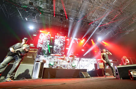 Padua Padova, PD, Italy - March 29, 2017: Litfiba Italian Rock Band on the stage during the live concert at Padua in Italy