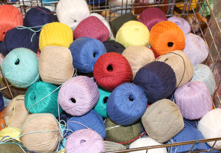 colored wool balls on sale in the haberdashery