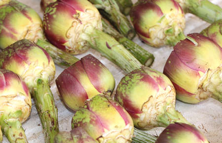 fresh chopped artichokes and prepared for sale in the fruit and vegetable shop in Italy