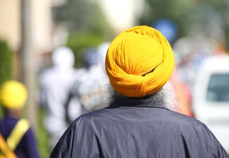 seniority: elderly sikh man with turban and white beard Stock Photo