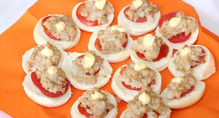 tuna mayo: sandwiches with tuna and onions on the table of restaurant Stock Photo