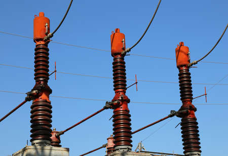 or electrocution: three big breakers switches in the power plant for energy production
