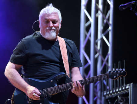 Bassano del Grappa, VI, Italy - April 29, 2017: Falzone Cico guitar player of Nomadi an Italian Musical Group during a live concert