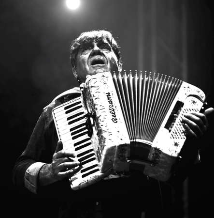 Bassano del Grappa, VI, Italy - April 29, 2017: Carletti Beppe of Nomadi an Italian Musical Group plays the accordion during a live concert Editorial