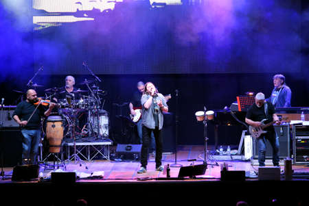 Bassano del Grappa, VI, Italy - April 29, 2017: Nomadi an Italian famous musical group on the stage during the live concert in Italy