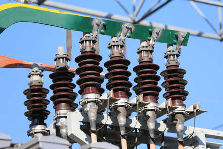 or electrocution: insulators for the copper bars at the highest voltage in the electric substation of an industry