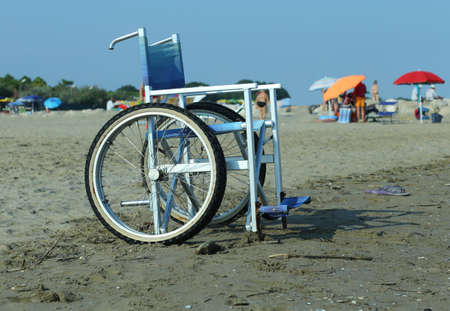 Special aluminum wheelchair to enter on the ocean