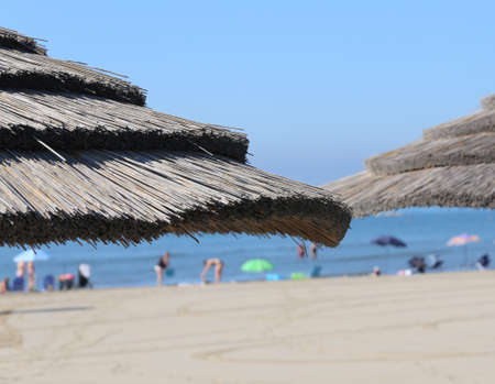 luxuriously: straw umbrella to shelter from the hot summer sun in the beach of the luxurious tourist village by the sea