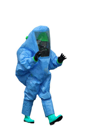 Man with a blue protective suit against  polluted air  on white background Editorial