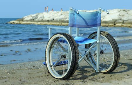 Special wheelchair with aluminum frame in order to enter into the water without problems